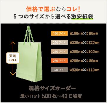 価格で選ぶならコレ!5つのサイズから選べる激安紙袋 規格サイズオーダー