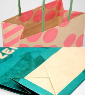 紙袋への印刷は両方の面と両マチ面に可能です。範囲制限はありません。